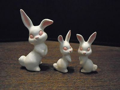 Small Decorative Porcelain Rabbits - Easter Bunny Figurines - White Bunnies