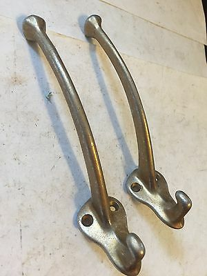 "2 Old Aluminum Arts Craft Craftsman  Deco Victorian 5 3/4"" Wall Coat Hat Hooks"