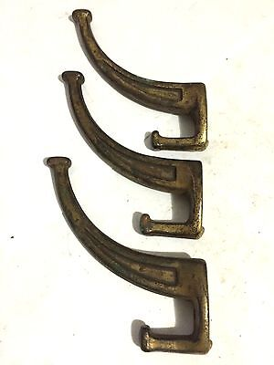 3 Antique Cast Iron Mission Arts Craft Deco Craftsman Wall Coat Hat Hooks