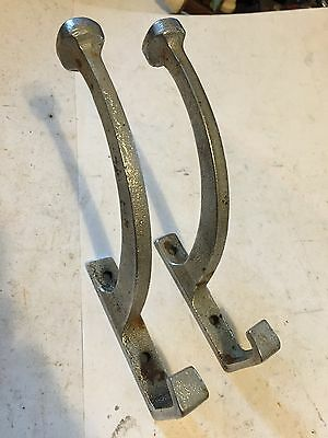 """2 Old Chrome Plated Cast Iron Art Craft Deco Victorian 5 1/2"""" Wall Coat Hat Hook"""