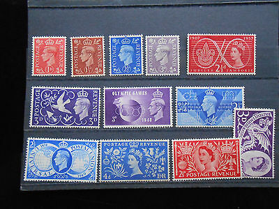 Great Britain: Lot of 12 MLH, Issues from 1937-57. great value !!!