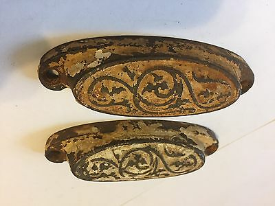 2 Old Cast Iron Arts Crafts Deco Victorian Cabinet Cupboard Drawer Bin Pulls