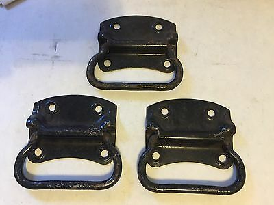 3 Old Black Paint Rust Steel Trunk Box Cabinet Cupboard Drawer Pull Lift Handles