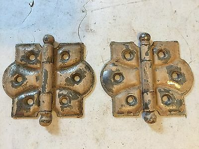 "2 Arts Craft Shabby Chippy Cupboard Cabinet Door Cast Iron Ball Tip 2 3/8"" Hinge"