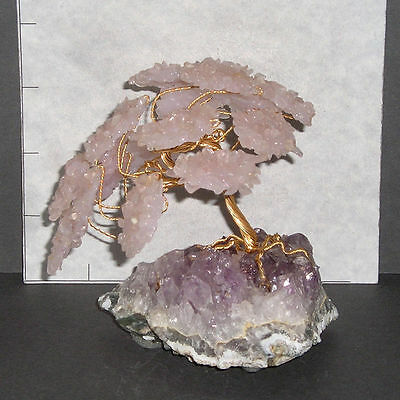 "ROSE QUARTZ GEMSTONE TREE w/ Amethyst base Bonsai 4"" high 11.1 oz 1114"