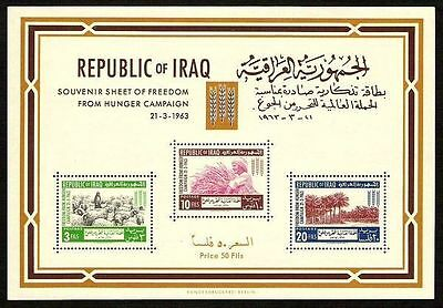 IRAQ IRAK FREEDOM FROM HUNGER 1963 SC 335a SG MS 639  SOUVENIR SHEET