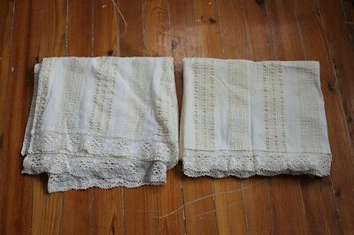 Antique Set Of Two Units Hand Woven Linen Fabric Sheets With Crochet Lace .