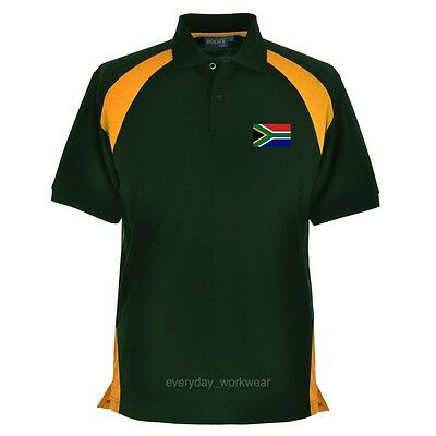 South Africa African Embroidered Polo Shirt Clothing Rugby Sports Cricket Green