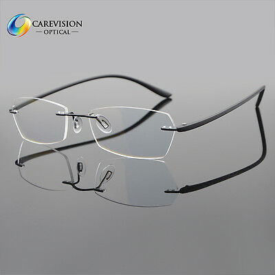 Myopia Eyeglass Frames Flexible Optical Rimless Clear lens Glasses Spectacles Rx