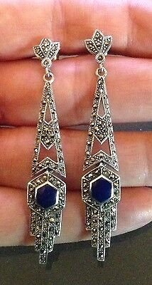New! Lapis Lazuli  Marcasite 925 Solid Sterling Silver Earrings