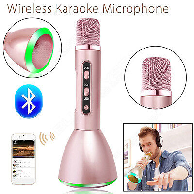 Wireless KTV Microphone Bluetooth Handheld Pink Stereo For Smartphone PC Tablet