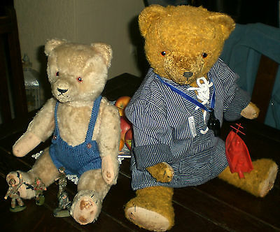 NICE, OLD LOT of 2 TEDDY BEARS THURINGIA