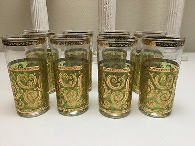 Vintage Set Eight 8 Glass Signed Culver Gold & Green Highball Cocktail Glasses