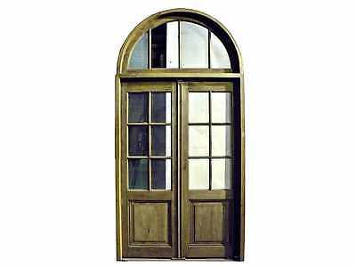 Double Glass Door with Arched Transom #D1080