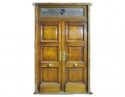 Antique Double Front Door w/ Stained Glass Transom #D1063