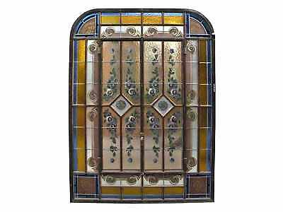 Antique Hand Painted Iron Window #A4020