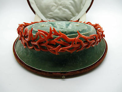 RARE Antique 19th Century Coral Branch Tiara with Carrying Case