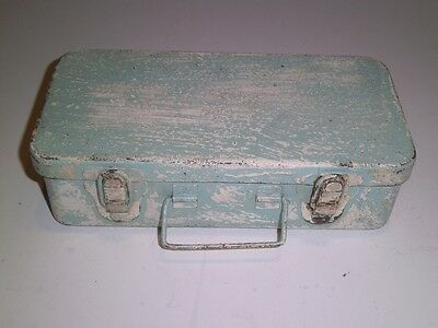 Vintage Shabby Small Tool Box Metal Tackle Craft Storage latches green/white