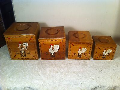 Vintage Wood 4pc  Kitchen Canister set with rooster Japan Mid Century