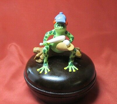 Frog Sitting On Log Holding Bat And Ball W Blue Cap Faux Brown Wood Box