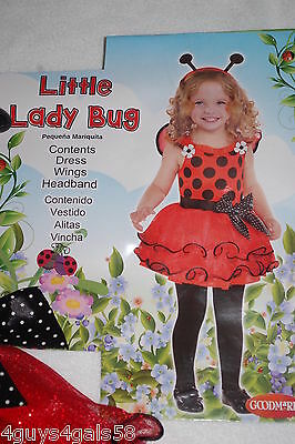 Toddler Girls LITTLE LADY BUG Halloween Costume RED BLACK Dress Wings Headbnd 2T