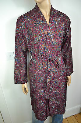 VINTAGE 1970's BURGUNDY PAISLEY POLY SMOKING JACKET ROBE DRESSING GOWN LARGE 42