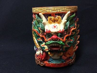 Vintage!!  Unique! NWT Fantasy 3D Chinese Dragon Candle Holder or Desk Cup!