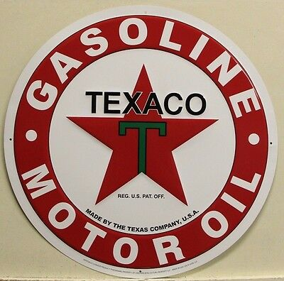 "TEXACO Gasoline & motor oil Metal Sign embossed large 24"" new version gas texas"