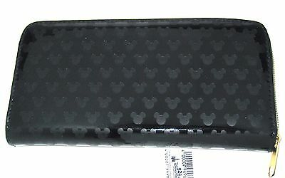 Disney Park Authentic Wallet✿Mickey Mouse Icon Faces Head Black Etched Black NEW