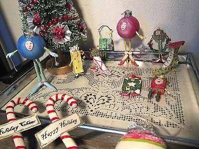 Patience Brewster krinkles ornaments Christmas lot Mini Shoe Shopping Bag Ball