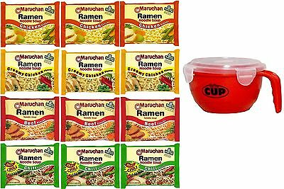 Maruchan Ramen Variety 4 flavors, Pack of 12 + By The Cup Soup Bowl …
