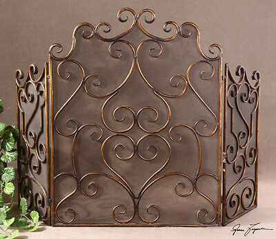 Tuscan French  Kora Iron Metal Mesh Brown Gold Fireplace Screen 3 Panel Horchow