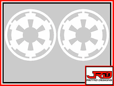 2 x Star Wars Galactic Empire Emblem Logo vinyl stickers in White