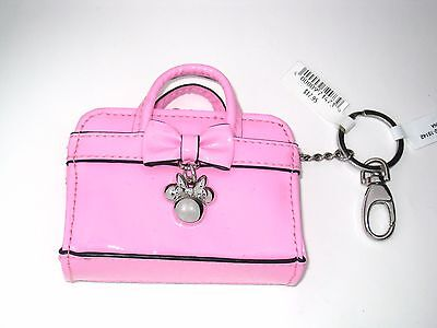 Disney Park Authentic Bag✿Tiny Faux Patent Leather Coin Purse Minnie Charm PINK!