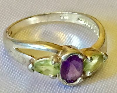 Sterling Silver 925 Prong Oval Purple Violet Lilac Amethyst Peridot  Stone Ring