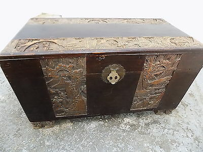 camphor chest,camphor,lion feet,oriental,tray,chest,vintage,large,chinese,carved