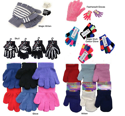 Childrens Magic Gloves And Mittens Kids Boys Girls School Plain Colours Warm