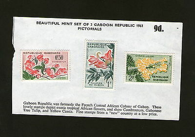 POSTAGE STAMPS x3 : GABOON REPUBLIC 1961 MINT SET - AFRICAN FLOWERS