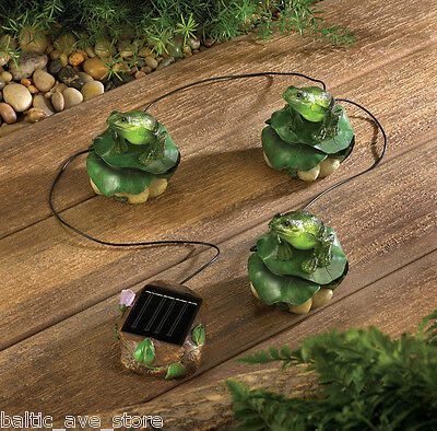 FROG Collectors Garden Decor Lawn Ornaments Solar Power Lighted Pond Figurines