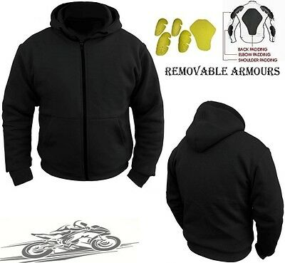 Black Speed Max Mens Fleece Hoodie Removable Armour Motorbike Motorcycle Jacket