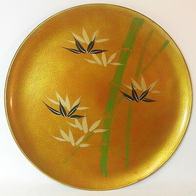 Vintage JAPANESE Lacquer Tray Plate BAMBOO Hand Painted japan Asian