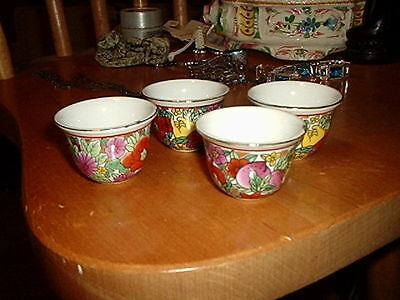 Vintage Beautiful Asian Floral Ceramic Small Cups or Bowls 1 1/2 inches tall