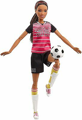 NEW! 2016 Barbie Made To Move AA Soccer Player Doll ~ NIB