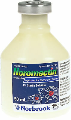 Noromectin Ivermectin Injection Control of  Parasites in Cattle & Swine 50 ML