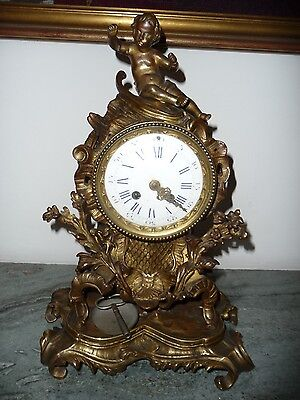 Antique 1850 Large French Rococo Bronze Mantel Clock