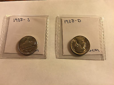 1938-D and 1938-S Jefferson Nickels Gem BU #113