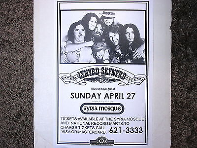 Lynyrd Skynyrd Concert Poster at the Syria Mosque Pittsburgh April 27 !