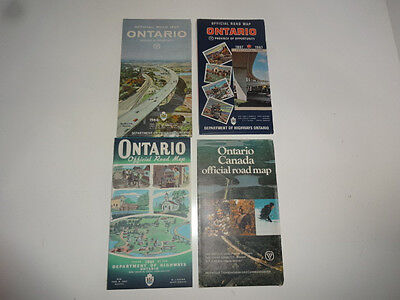 Lot of 4 1960's Official Ontario Road Maps