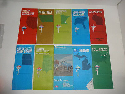 Lot of 10 Vintage USA Standard  Oil Gas Road Maps