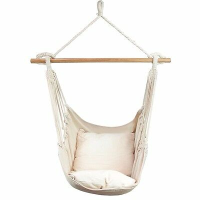 Cream Deluxe Hanging Hammock Chair Swing INCLUDES 2 x luxuriously Soft Cushions